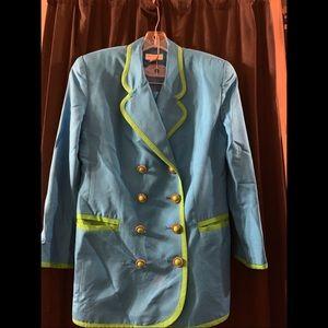 Ann Taylor Robins Egg Blue Silk Suit 90's Green